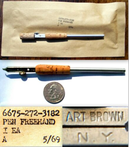 VINTAGE 1969 NEW SEALED NOS ART BROWN NY #7 CALLIGRAPHY FREEHAND FOUNTAIN PEN