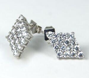 Women-039-s-White-Gold-plated-Clear-diamond-shape-stud-earrings-Jewellery