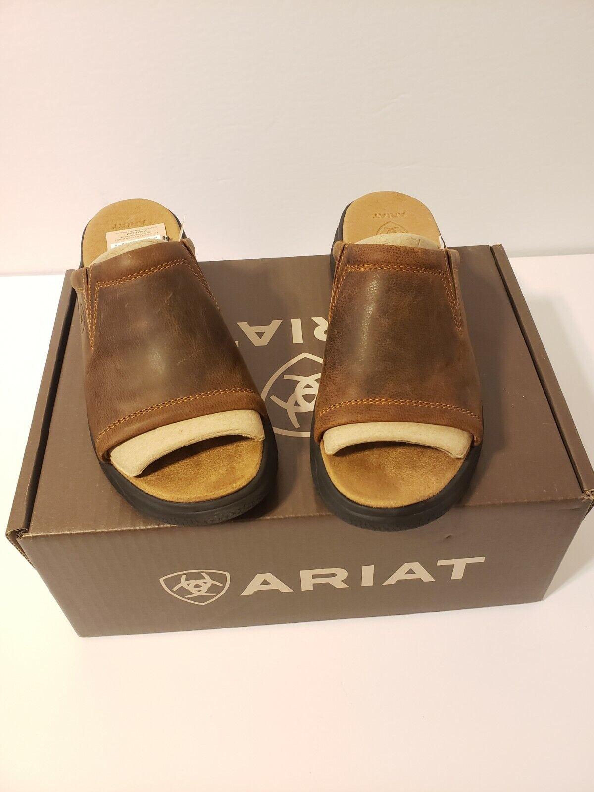 New in Box-Ariat Bridgeport Sandales en cuir marron diapositives pour femme Taille 6.5
