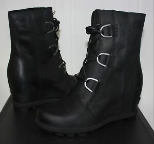 252bf2ccab4b Sorel Women s Joan Of Arctic Wedge Boots Black Leather New With Box ...