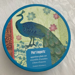 PIER-1-IMPORTS-4-APPETIZER-COCKTAIL-DISHES-PLATES-PEACOCKS-Turquoise-NEW-IN-BOX