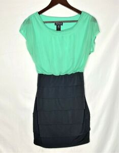 EnFocus-Petite-Women-Bodycon-Empire-Waist-Dress-Green-Black-Size-4P-Stretch-Tier
