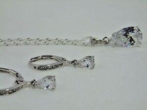 Image Is Loading Stauer Clear Diamondaura Teardrop Pendant 20 034 Necklace