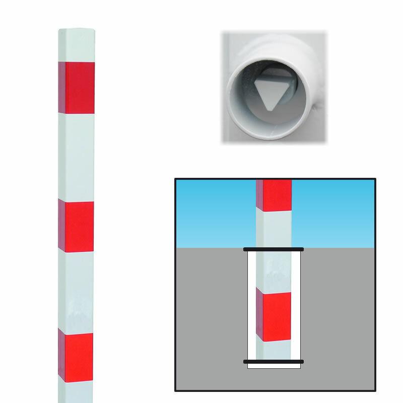 Absperrpfosten Rot Weiß herausnehmbar Dreikant, 101917