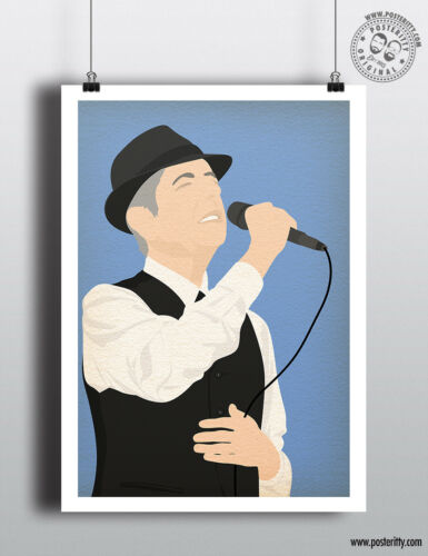 Minimalist Poster Music Minimal Wall Hat Art Print Hallelujah LEONARD COHEN