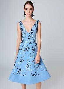 bc54b28b6f  5990 New Oscar de la Renta Blue Vine Embroidered Silk Faille ...