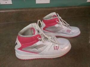 official photos 3d49b 7fa9f Details about Girl's Jordan Flight 1 Retro Basketball 371389-122 Size 6.5Y  Wht/Pnk
