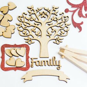 Wooden-MDF-Tree-Set-inc-12-free-hearts-and-Family-word-Craft-Blank-Shape-SBT