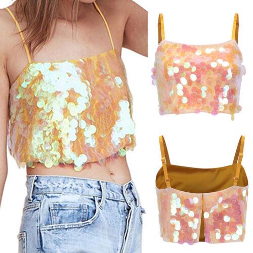 Women Bling Tanks Crop Top Vest Ladies Casual Cami Camisole Short Club Blouse WL