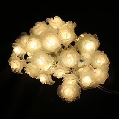 Lichterkette mit 30 LED Rose Blumen Batterie Hochzeit Licht Warmweiß Garten Deko