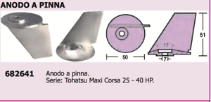 ANODO A PINNA  x MOTORE TOHATSU  25-40 hp  ACCESSORI NAUTICA