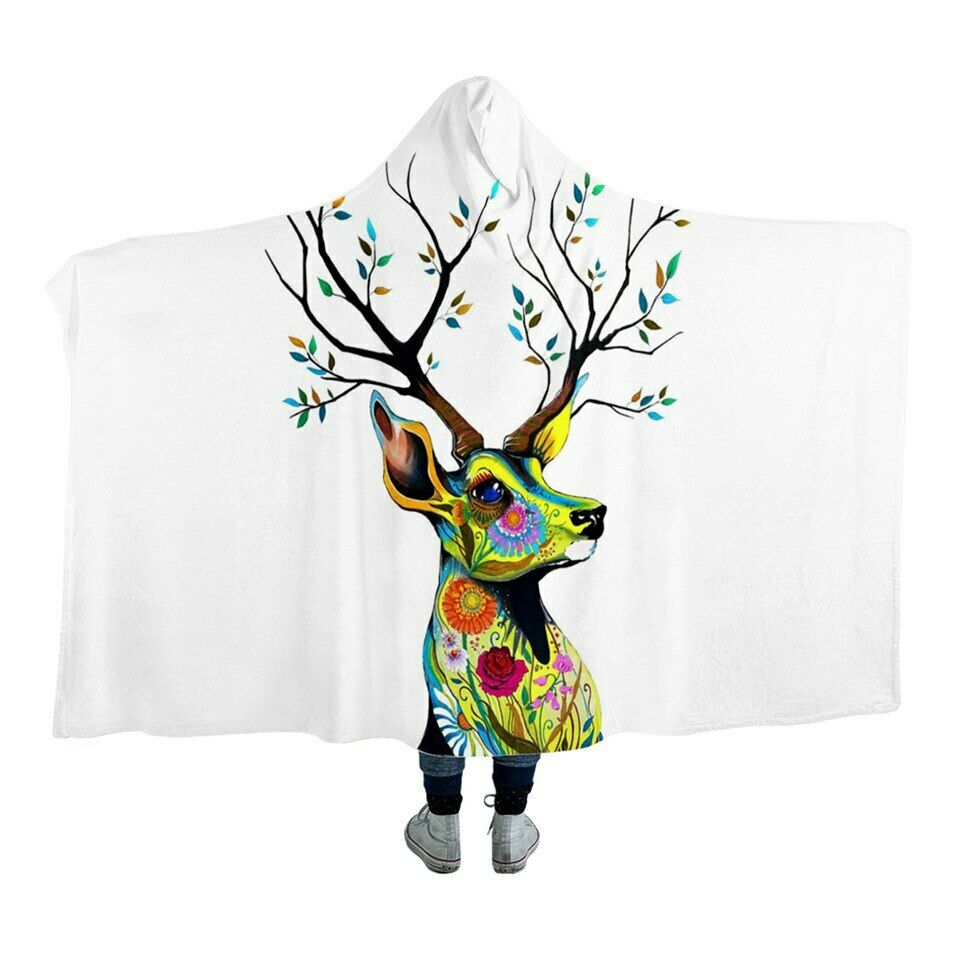 Sacrot König By Pixie Cold Deer Kunst Kids Adult Sherpa Fleece Fur Hooded Throw