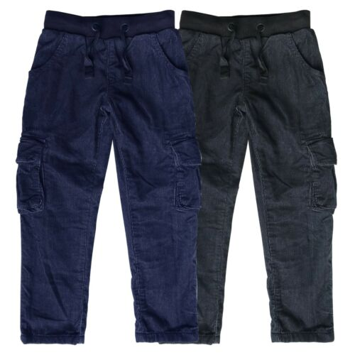 Boys /& Baby Boys Grey Cord Trousers Pull On Cotton Corduroys Pants