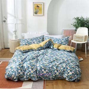 Queen/Single/Double/King Bed Quilt/Doona/Duvet Cover Set Blue Flower 100% Cotton