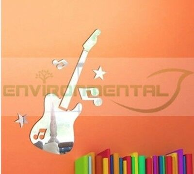 Guitar Musical Acrylic Plastic Mirrors Wall ROOM Decal Decor Vinyl Art Stickers