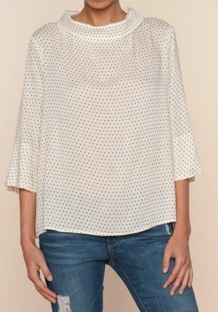 Ella Moss Pin Dot Drape Front Cowl Neck Top 3/4 Sleeve Rayon Blend NWT XS-L $158