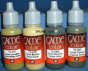 VALLEJO-GAME-COLOR-PAINT-GREEN-CAMO-CAMOUFLAGE-SET-4-x-17ml-bottles-DF24