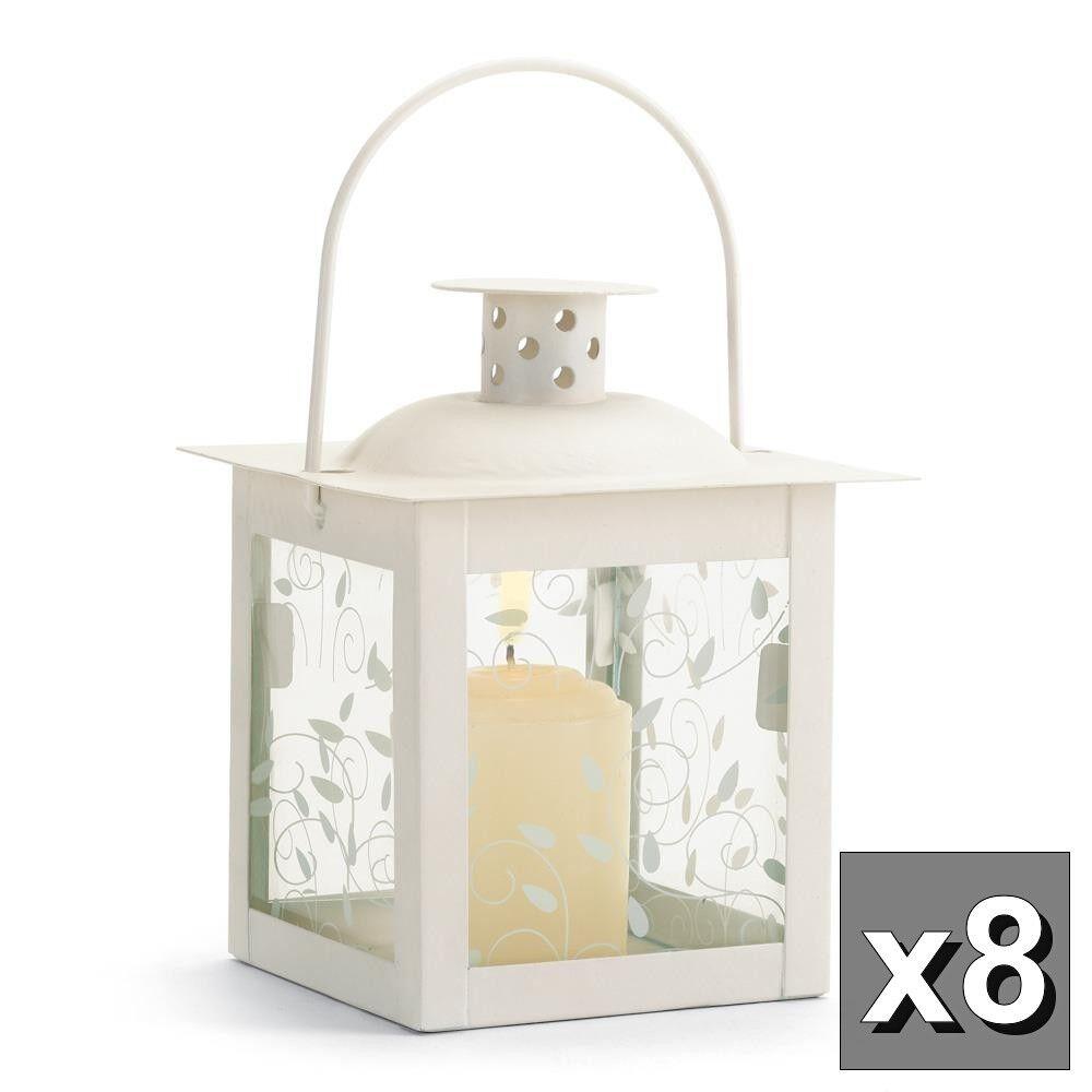 "8 small mini 4"" white fairy lamp Candle holder Lantern wedding table centerpiece"