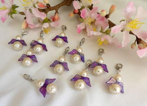 25 Schutzengel,perlmutt creme,mit Regenbogenfarbenen Flügel lila Gastgeschenk