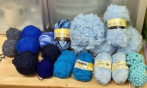 Knitting-Yarn-Lot-720g-Blues-Coats-Wendy-Cotton-Fancy-Chunky-Spinning-Crafts-5O