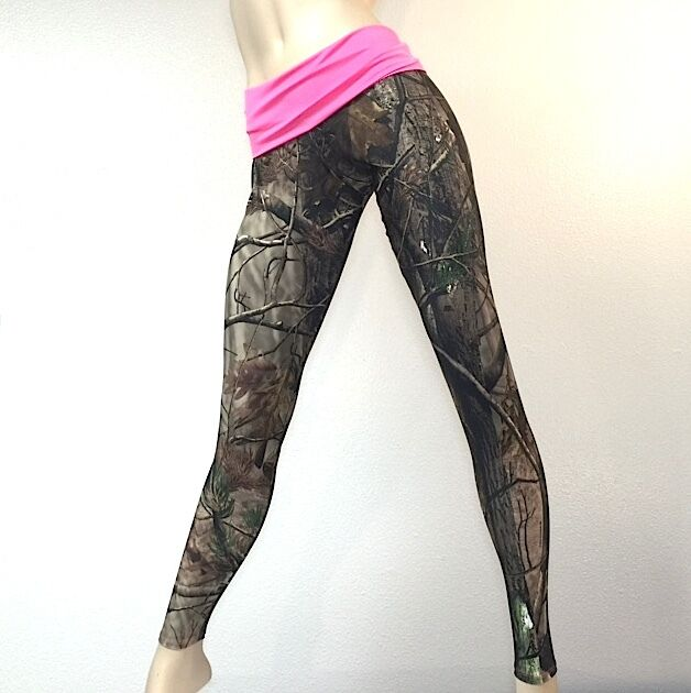Camo Camouflage Hunting Pants PINK Fold Over Low Rise Legging MADE IN USA