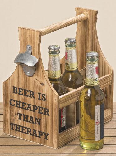Flaschenhalter Larry Beer is Cheaper Flaschenträger 28x17x29cm Holz
