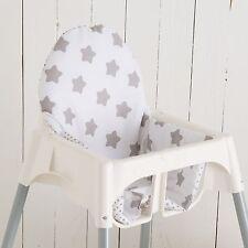 """Sitzkissen """"Sterne weiß"""" für Ikea Antilope Hochstuhl, u.v.m., 2-seitig"""