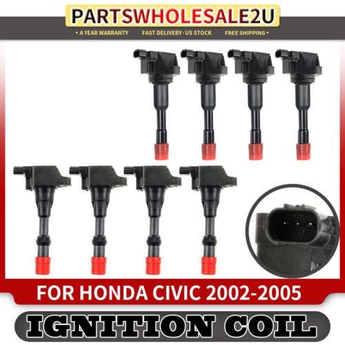 8 Ignition Coils for Honda Civic 2002 2003 2004 2005 LDA1 I4 1.3L Front /& Rear
