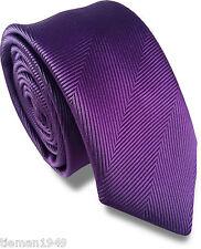 Herringbone Purple Skinny Slim Retro Tie