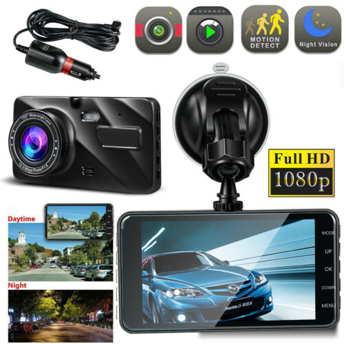 "Dash Cam 170°4/"" Dual Lens Car Camera DVR Video 1080P FHD Night Mode For Cars"