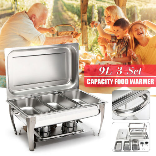 Three 2-1//2 Quart Stainless Steel Rectangular Chafing Dish Full Buffet Catering