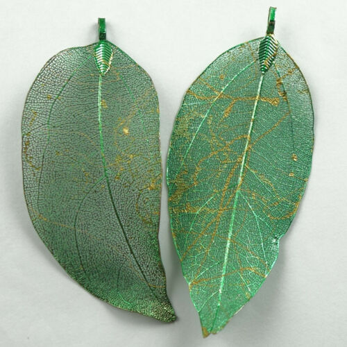 2Pcs Real Dipped Skeleton Maple Leaves Filigre Pendant Bead  NN410
