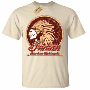 Indian-American-Biker-Hombre-camiseta-motocicleta