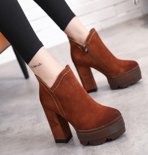 Women Suede High Block Heels Platform Ankle Riding Boots Zip Side Party shoes B13