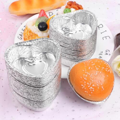 60Pcs en forme de cœur feuille d/'aluminium Mini Tasses Pour Muffin Cupcake Cookie Baking Pan