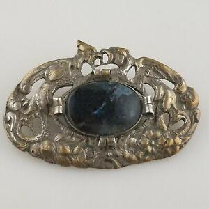 VTG-Antique-Art-Nouveau-Victorian-800-Silver-Italy-Figural-Birds-Sash-Pin-Brooch
