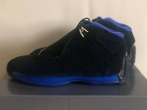 Air Jordan 18 Retro OG Black Sport Royal AA2494-007 Mens Basketball ... 62faa1f32