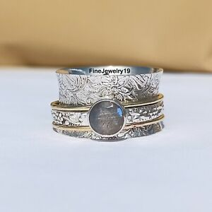 Labradorite-925-Sterling-Silver-Spinner-Ring-Meditation-Statement-Jewelry-A32