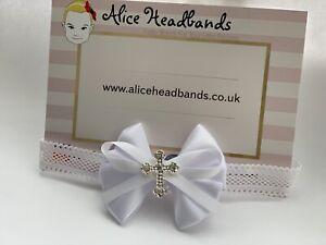 Baby-Girl-White-Christening-Headband-Baptism-Wedding-Small-Bow-Cross-Hairband
