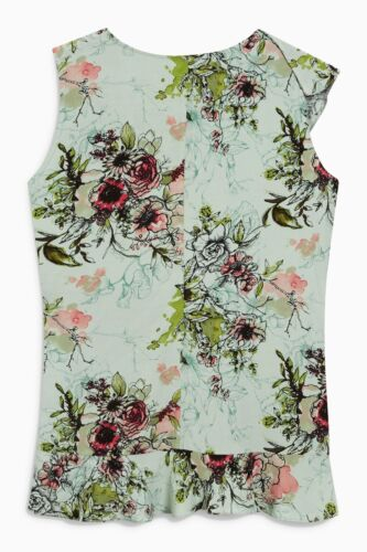BN NEXT MINT GREEN FLORAL WRAP PRINTED TOP BLOUSE TUNIC SIZE 6~22 ONLY £14.99!!