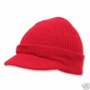 28a0b37985a Red Ribbed GI Jeep Cap Knit Beanie Skully Winter Hat Radar Look ...
