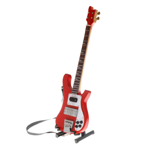 1//6 Wooden Electric Bass Model Musical Miniature for Action Figures Red #2