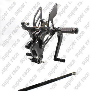 Adjustable CNC Rearsets Footpegs Pedals Footrests For Yamaha YZF R6 03-2005 Gray