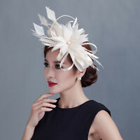 Lady Sinamay Fascinator Wedding Party Race Feather Flower Headband Hair Band Hat