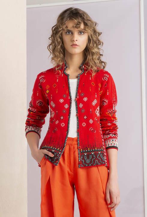 -10% Neuf De Ivko Tricot Veste Taille 44 Coton Rouge Coloré Costume Traditionnel Cardigan