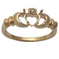 14kt Yellow Gold E Vs Diamond Claddagh Semi Mount Ring on sale