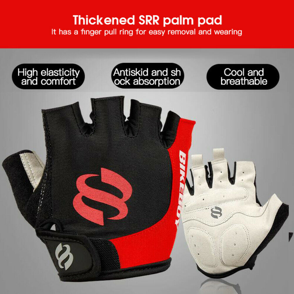 HOT BIKEBOY Half Finger Cycling Gloves Bicycle Riding Fingerless Gloves Sports~