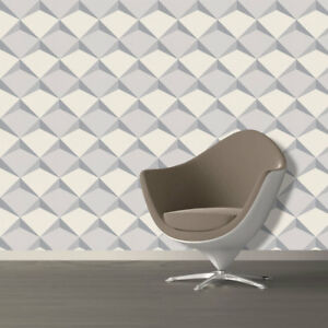 Image Is Loading White Grey 3D Wallpaper Textured Embossed Geometric Feature