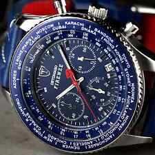 DETOMASO Firenze 42mm Chronograph Mens Watch Stainless Steel Blue Leather New