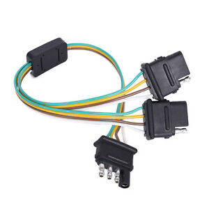 MICTUNING 2-Way 4 Pin Y-Adapter trailer connector for Trailer ... on 4 wire plug connector, three wire trailer harness, 7 wire trailer harness, five wire trailer harness, 6 wire trailer harness, wiring harness,
